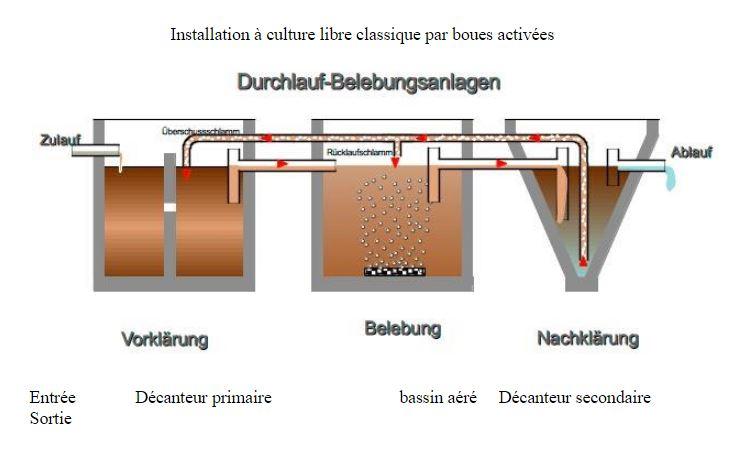 Installation à culture libre classique par boues activées
