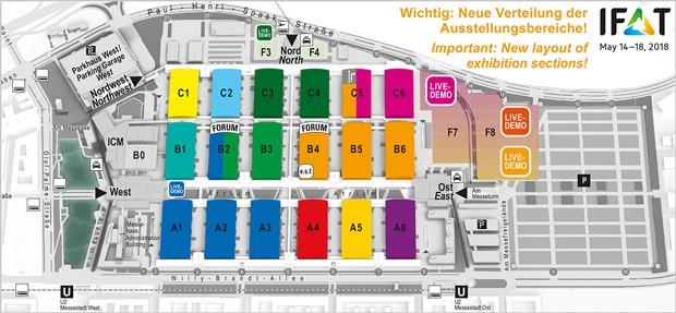 Plan des exposants présents à l'IFAT 2018 de Munich